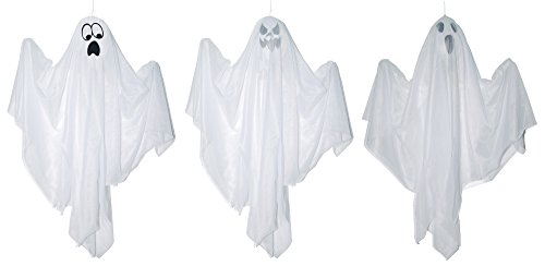 Set of 3 White Mini Hanging Ghosts Halloween Decoration