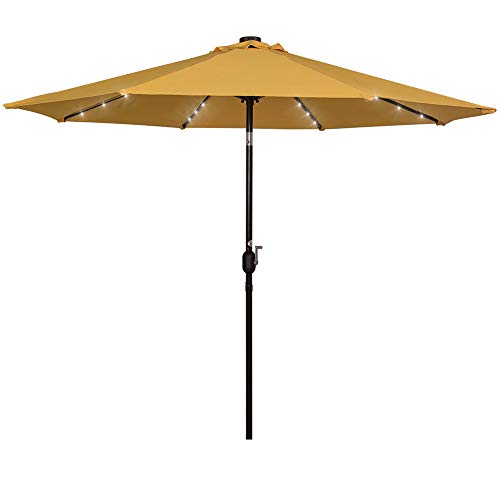 Sundale Outdoor Solar Powered 32 LED Lighted Patio Umbrella Table Market Umbrella with Crank and Push Button Tilt for Garden, Deck, Backyard, Pool, 8 Steel Ribs, 9 Feet, Yellow