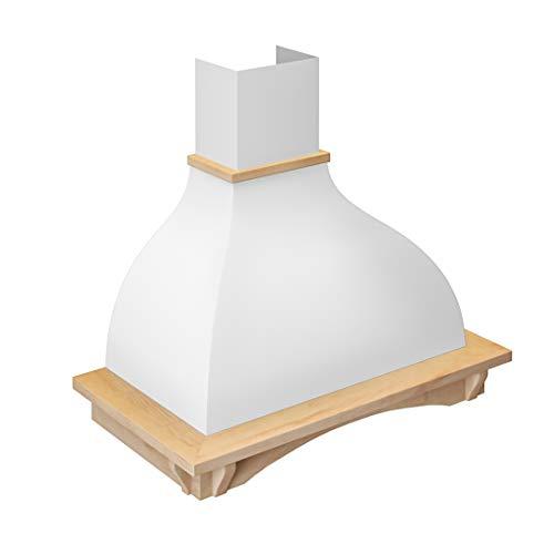 (Futuro Futuro Connecticut 36 Inch Wall-mount Kitchen Range Hood - Classic Retro Italian Design - White Steel & Wood Unstained Ultra-Quiet with Blower)