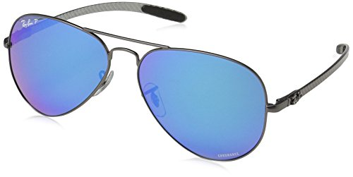 Ray-Ban RB8317CH Chromance Mirrored Aviator Sunglasses, Matte Gunmetal/Polarized Blue Mirror, 58 ()