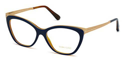 Tom Ford - FT 5374, Cat Eye, acetate/metal, women, DARK BLUE GOLD(090 G), - Women Clothing Tom Ford