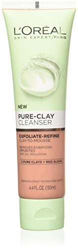 L'Oréal Paris Skincare Pure-Clay Facial Cleanser with Red Algae for Rough and Clogged Pores to Exfoliate & Refine, 4.4 fl. oz.