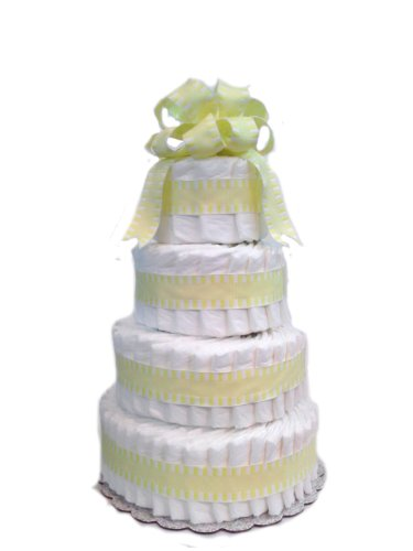 Classic Pastel Baby Shower Diaper Cake (4 Tier, Yellow) by Rubber Ducky