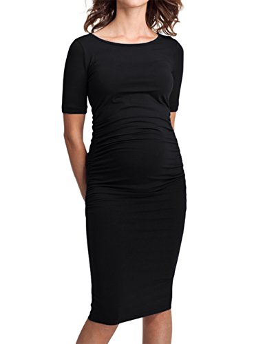 MissQee Ruched Maternity Dress Round Neck Maternity Dress 3/4 Sleeve Maternity Dresses (M, Black#) Sleeve Maternity Dresses