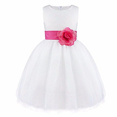 FEESHOW Satin Bodice White Communion Flower Girl Wedding Party Pageant Dress Rose 14