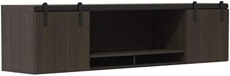 """Mirella 72"""" Wall Mounted Hutch with Sliding Wood Doors in Southern Tobacco"""