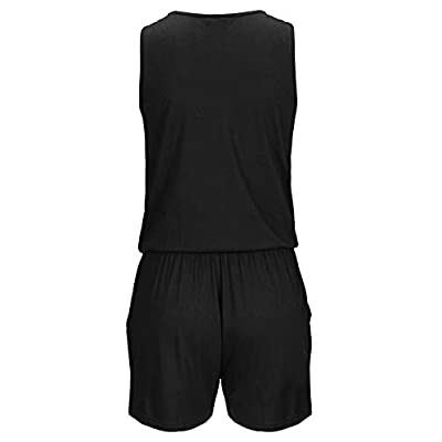 Auxo Womens Short Romper Sleeveless Floral Jumpsuit V Neck Half Zip Cute Playsuit Jumper with Pockets: Clothing