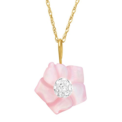(Pink Natural Mother-of-Pearl Flower Pendant Necklace with Swarovski Crystal in 14K Gold)
