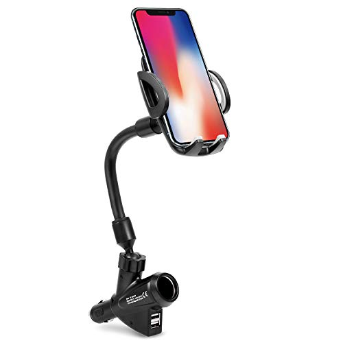 Cellstand 3-in-1 Cigarette Lighter Car Mount Charger Holder Cradle with Dual USB Charger, Extra Cigarette Lighter Power Outlet for iPhone, Samsung Galaxy, Sony, Google Nexus, HTC and More Smartphones by Cellstand