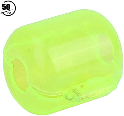 50 Piezas de pl/ástico Amarillo Fluorescente Se/ñuelos de Gancho de Calamar Caja de la Cubierta Caso Accesorio de Pesca Caja de se/ñuelos