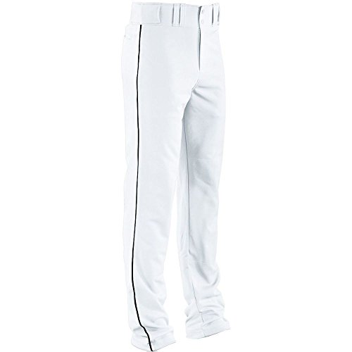 High Five Piped Double Knit Baseball Pant-Adult,White/Black,Medium