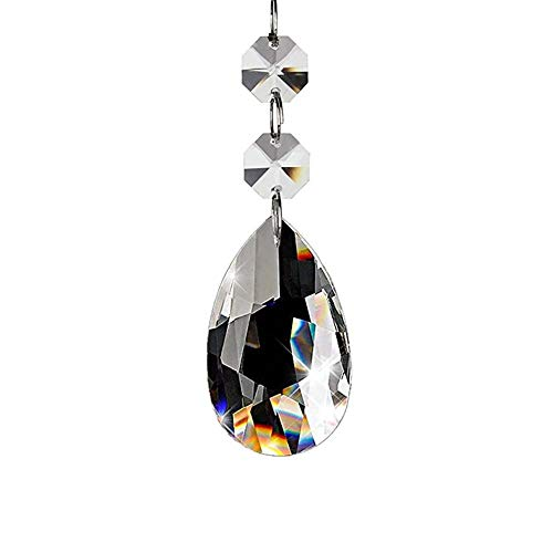 Enjoyment K9 Colorful Clear Teardrop Crystal Glass Pendant Wedding Decoration Interior Crystal Lamp Curtain Home Decor ()