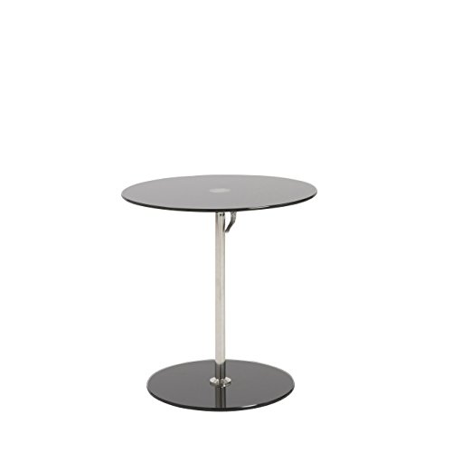 Euro Style Radinka Height Adjustable Round Glass Table, Black Printed by Eurø Style
