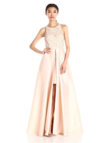 (Adrianna Papell Women's Halter Gown with Taffeta Skirt, Light Champagne, 10)