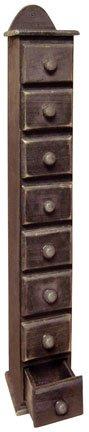 Spice Box Storage Drawers Distressed Black Wood Country Primitive (Black Primitive Decor)