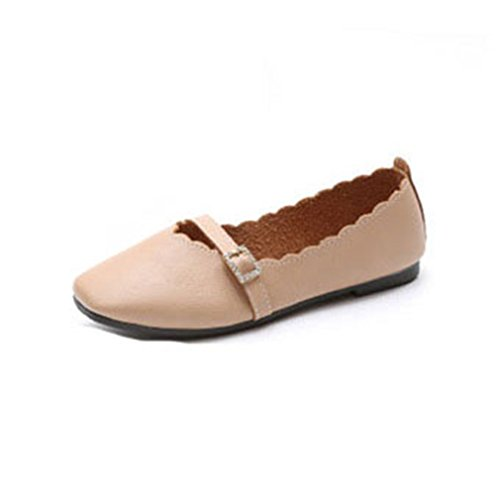 GIY Womens Mary Jane Ballet Flat Loafer Comfort Retro Round Toe Slip-On Buckle Dress Casual Loafers Shoe Light Brown dFRzl9i