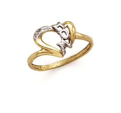 - 14k Two-Tone Gold Mom Diamond Ring - Size 7.0