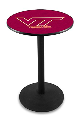 "UPC 071235032128, L214 - 36"" Black Wrinkle Virginia Tech Pub Table by Holland Bar Stool Co."
