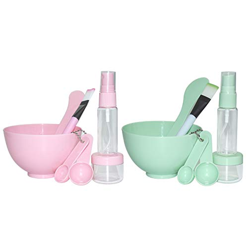2 Sets DIY Facemask Mixing Tool Kit, Facial Care Mixing Bowl and Brush Spray Bottle Mixing Stick Soaking Bottle Gauge 8 in 1 Set - 16 Pack (Green And Pink)