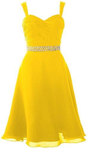 MACloth Elegant Straps Chiffon Cocktail Dress Short Wedding Party Formal Gown Amarillo