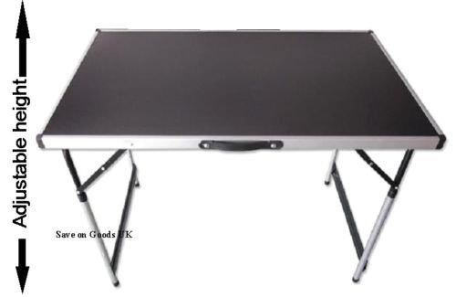 Aluminium folding picnic camp table, adjustable fishing foldaway portable travel camping