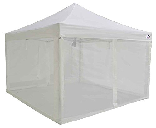 Recreational Canopy (Impact Canopy 10x10 EZ Pop Up Canopy Tent Recreational Party Gazebo with Mesh Sidewalls Screen Room (White))