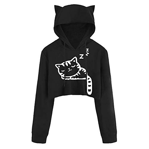 Models Girls T-shirt - DEATU Juniors Hoodies Women Cute Casual Long Sleeve Sport Coat Teen Girls Cat Kitty Print Short Blouse Top Pullover Sale(a-Black,XL)