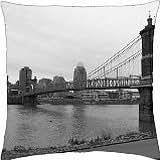 Cincinnati, Ohio Skyline With Bridge - Throw Pillow Cover Case (18