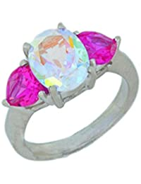 Natural Mercury Mist Mystic Topaz Oval & Created Pink Sapphire Heart Ring .925 Sterling Silver Rhodium Finish