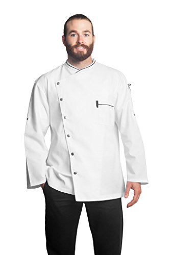 Bragard Men's Long Sleeve Chicago Chef Jacket with Honeycomb Weave and Piping - White | Sizes 44 US| by Bragard