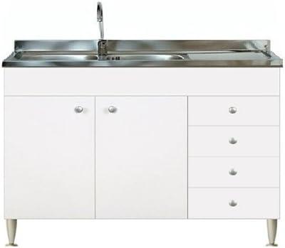 Mobile Con Lavello Cucina.Mobile Cucina 2 Ante Con Cassettiera Dx Completo Di Lavello Inox 120 Sottolavello Amazon It Casa E Cucina