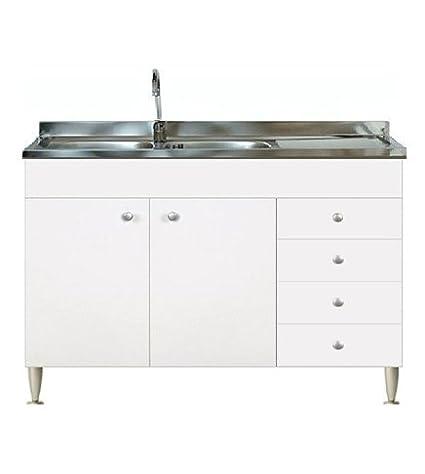 Mobile cucina 2 ante con cassettiera dx completo di lavello inox 120 ...