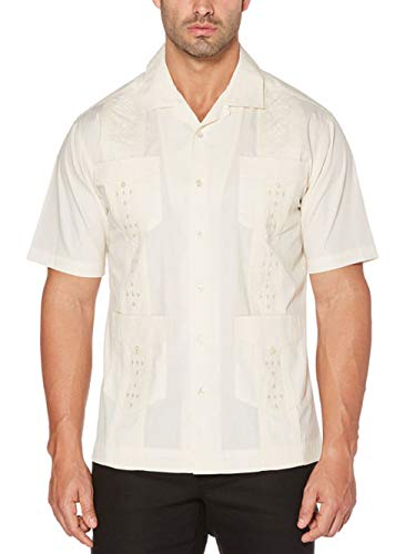 Cubavera Men's Short Sleeve Embroidered Guayabera Shirt, Ivory, ()