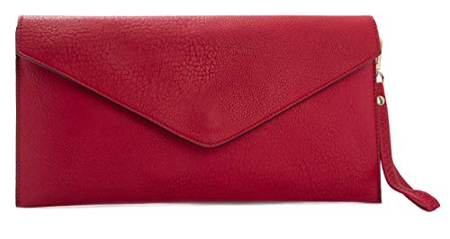 Shoulder Red Crossbody Envelope Womens Wristlet Leather Vegan Big Messenger Plain Shop Handbag Clutch Bag HwZWqSP