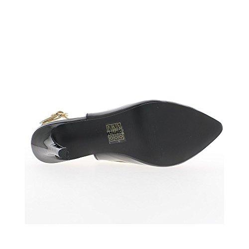 Negro tacones 10cm abierta en la parte posterior