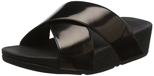 para Sandalias con Slide FITFLOP Black Mujer Mirror Lulu Plataforma 484 Negro Cross wqOSYR