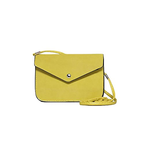 Faux Leather Clutch - Stylish Ladies Woman Clutch Eco leather Shoulder Bag with Magnet lock and Adjustable Strap Simple Purse (Yellow)