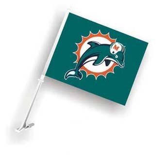 Miami Dolphins Car Flag - Fremont Die Consumer F98933 Car Flag 11.5 x 14.5 Miami Dolphins