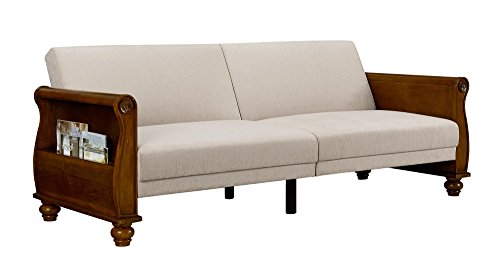 DHP Frisco Upholstered Splitback Sofa Sleeper With Honeywood Arms With Beige  Chenille