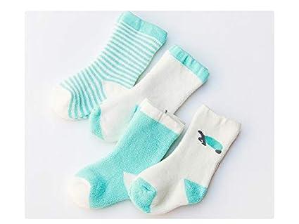Medias para niños pequeños 4 pares de calcetines de algodón para niños Kids otoño e invierno
