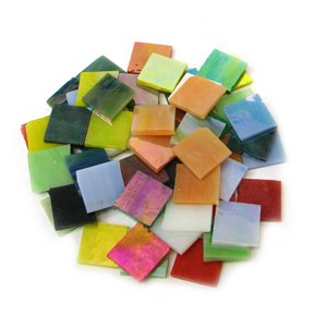 Jennifer's Mosaics 5-Ounce Variety Iridescent Stained Glass Chips, Assorted - Stained Chips Glass Mosaic Tiles