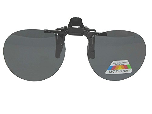 Round Polarized Flip-up Clip-on Sunglasses (Black Frame-Polarized Gray Lenses, 52mm Width x 47mm - On Clip Sunglasses Up Flip