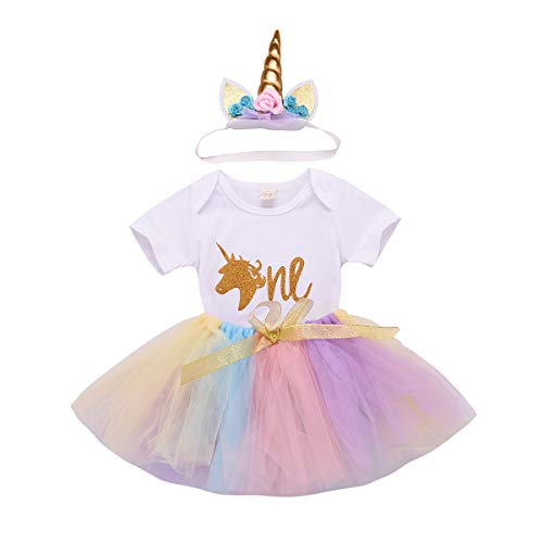 Toddler Baby Unicorn 1st Birthday Outfit Newborn Baby Girl Onesie Costume Party Romper Bodysuit+ Tutu Skirt Dress Clothes Set (18-24 Months, Unicorn One) -