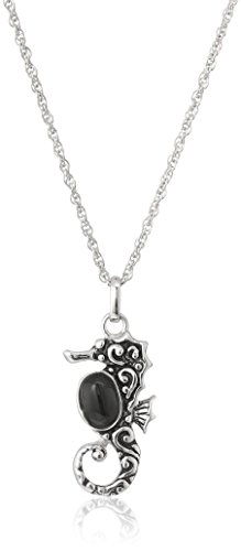 - Sterling Silver Black Chalcedony Seahorse Pendant Necklace, 18