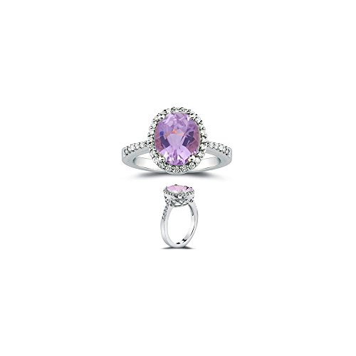 0.26 Cts Diamond & 2.75 Cts AA Kunzite Ring in 14K White (Cts Kunzite Ring)