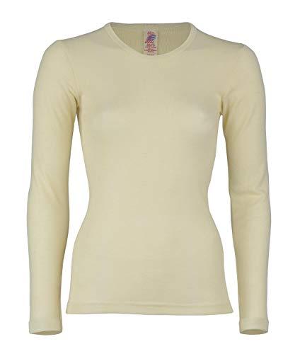 Engel 100% Merino Wool Women's T-Shirt Long Sleeved. Made in Germany. (EU 42/44 (L), Natural) (Best Hikes In Germany)