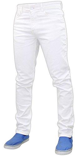Hombres New de Stretch Pantalones Pantalones White Slim G72 Fit Zip Denim Fly algodón Jeans d5xdpw