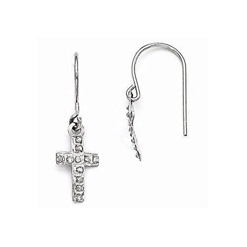 - Mia Diamonds 14k Yellow Gold (.01cttw) Diamond Fascination Cross Earrings (25mm x 9mm)