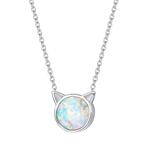 FANCIME Sterling Silver Cat Necklace Blue/White Created Opal Cat Ear Pendant Cute Necklace Tiny Dot Round Disc Jewerly For Women Girls 18
