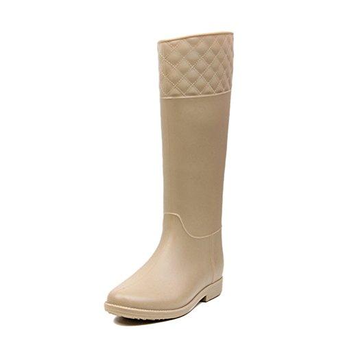 Rain Boots Wellington Tall SAGUARO Festival Wellies Flat Khaki Women's wqYZA0